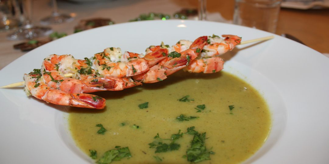 Curry banana soup with lemon coriander shrimps