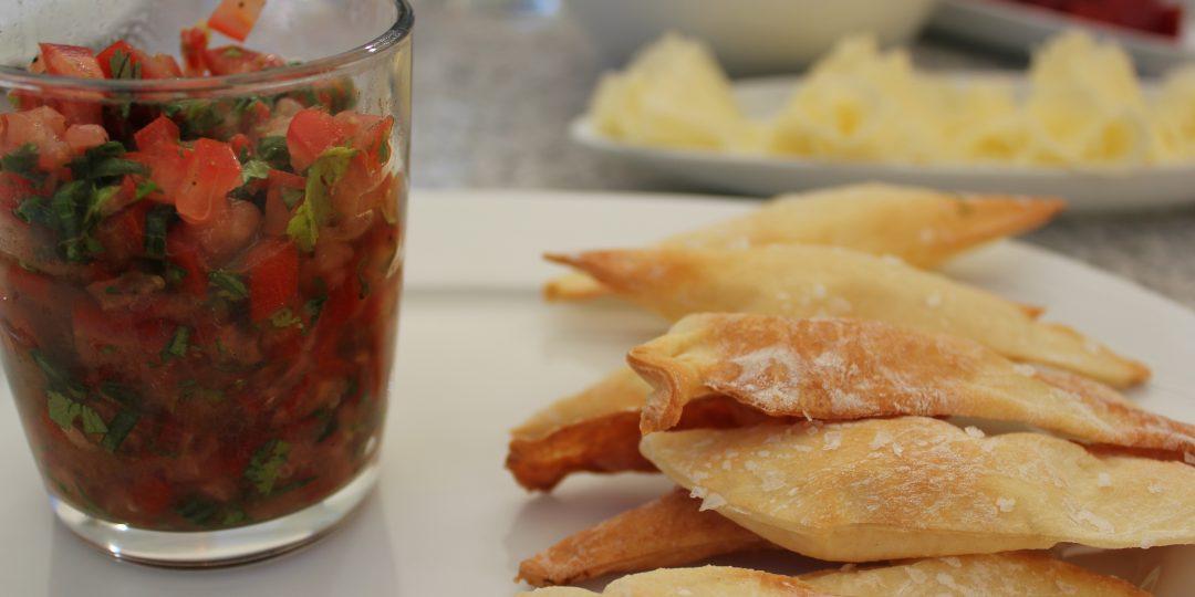 Asian tomato salsa with lingue della suocera