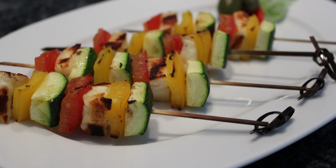 Halloumi and vegetable kebabs