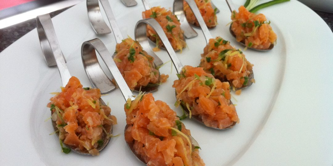 Spoon of smoked salmon tartare