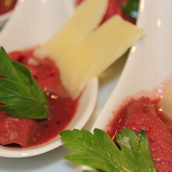 Spoon with deer carpaccio