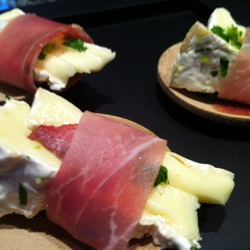Camembert wrapped with prosciutto