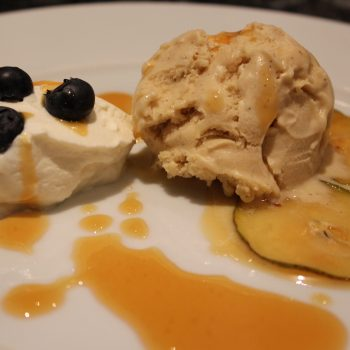 Chestnuts icecream with caramelized pears