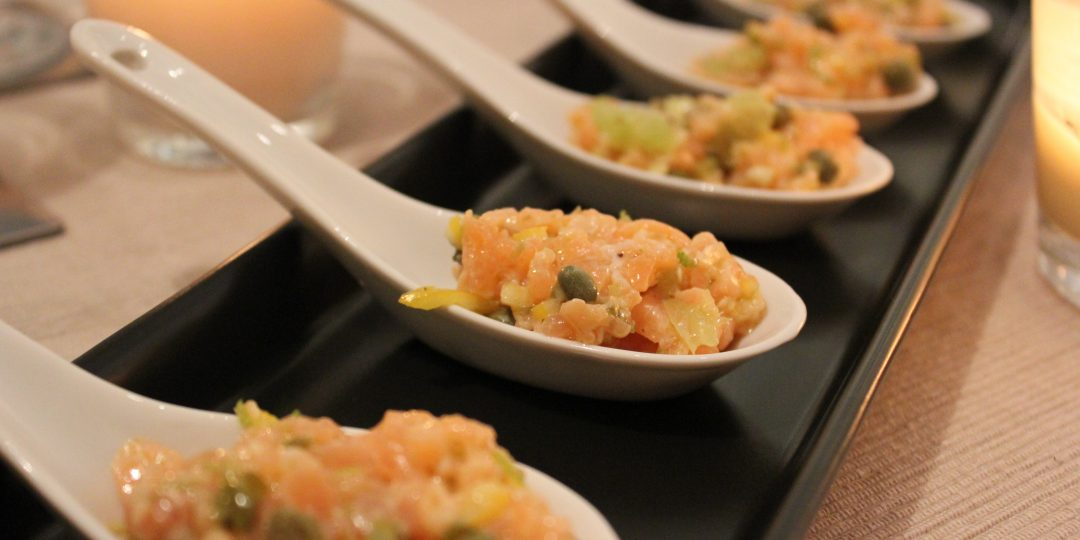 Smoked salmon tartare with capers, lime and chilli