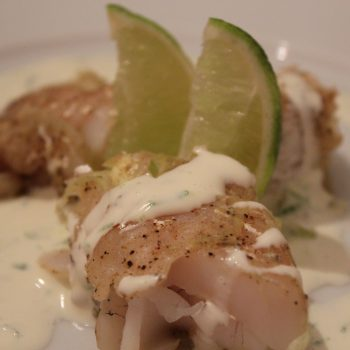 Pike-perch with leek and lemon pepper