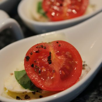 Spoon of caprese salad