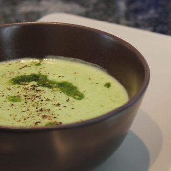 Wild garlic cream soup with pesto