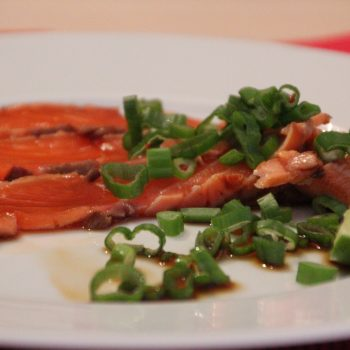 Seared salmon with soy sauce