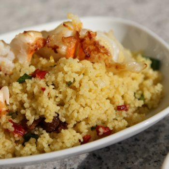 Couscous salad with lemonzest coated shrimp