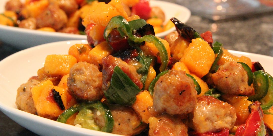 Sweet potato with minimeatballs and grilled peppers