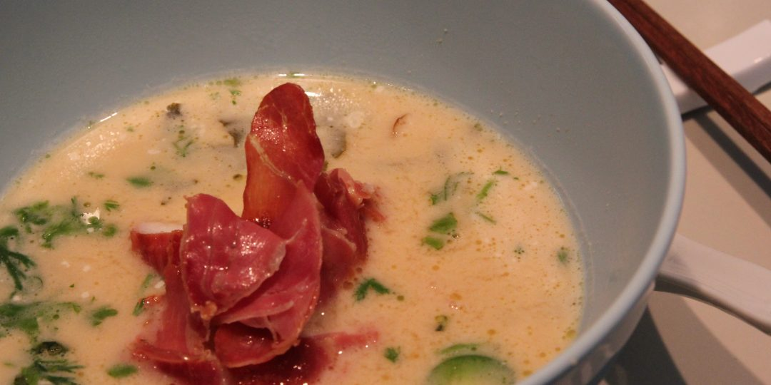Cononut soup with monkfish and prosciutto