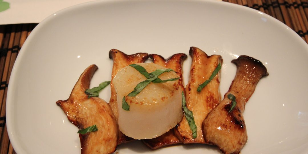 Carpaccio of king oyster mushroom and scallop