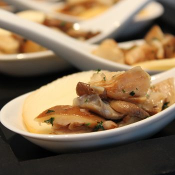 Spoon with oyster mushrooms and smoked cheese