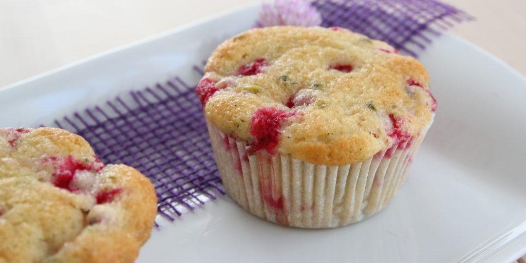 Redcurrant and pistachio muffin