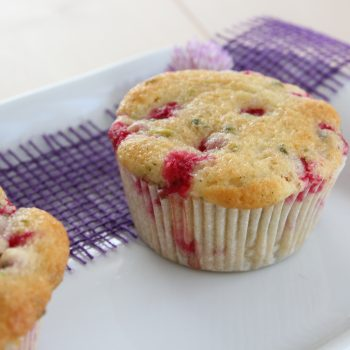 Redcurrant and pistachio muffin