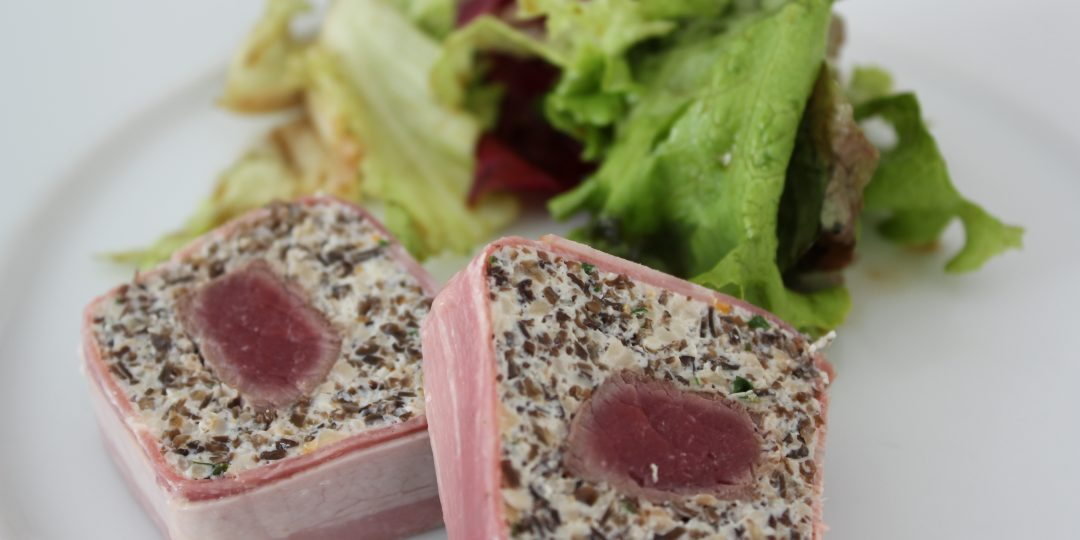 Mushroom terrine with deer filet