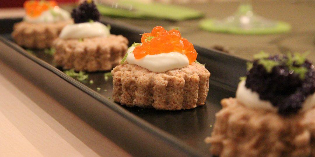 Mini savoury scones with caviar