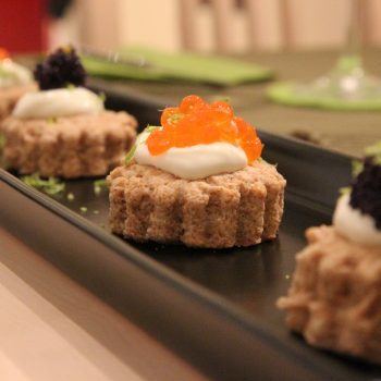 Mini savoury scones with caviar