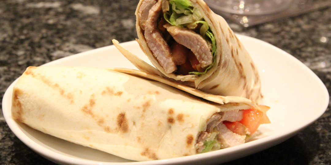 Wrap with pork and salad