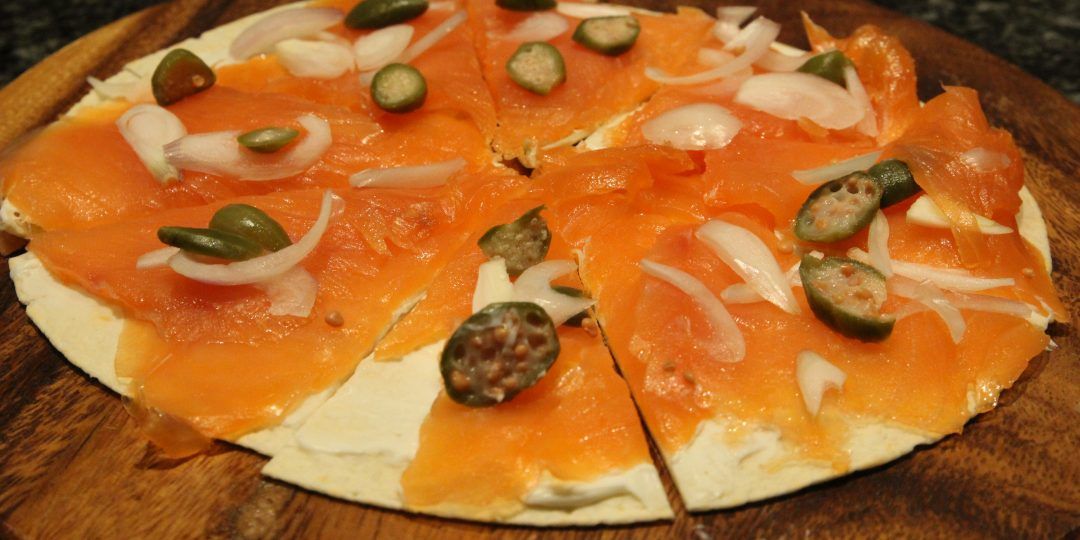 Tortilla with smoked salmon