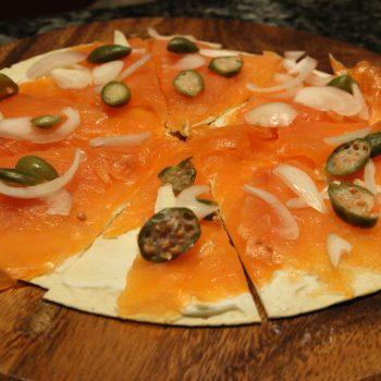 Tortilla with smoked salmon