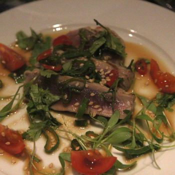 Seared tuna with watercress sprouts