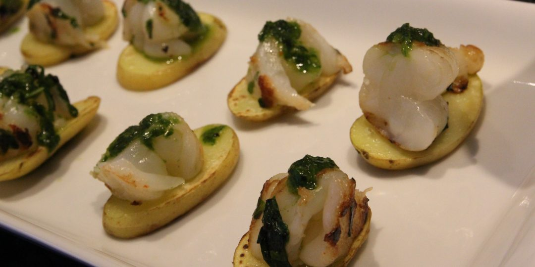 New potato with grilled shrimp and wild garlic paste