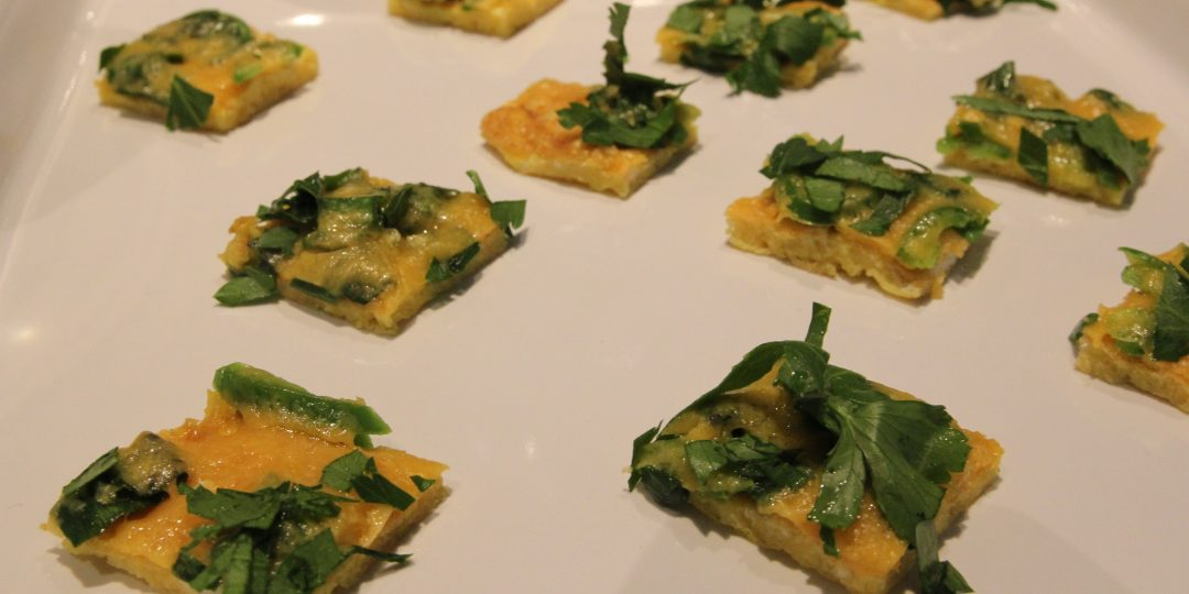 Frittata squares with red cheddar, parsley and jalapeños