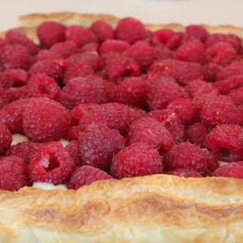 Fresh raspberries crostata