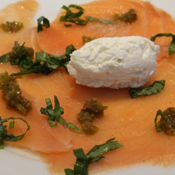 Smoked salmon carpaccio with goat's cheese
