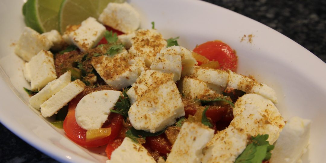 Indian salad with paneer