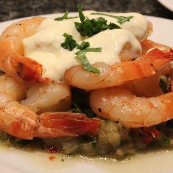 Aubergine salad and lemon shrimps