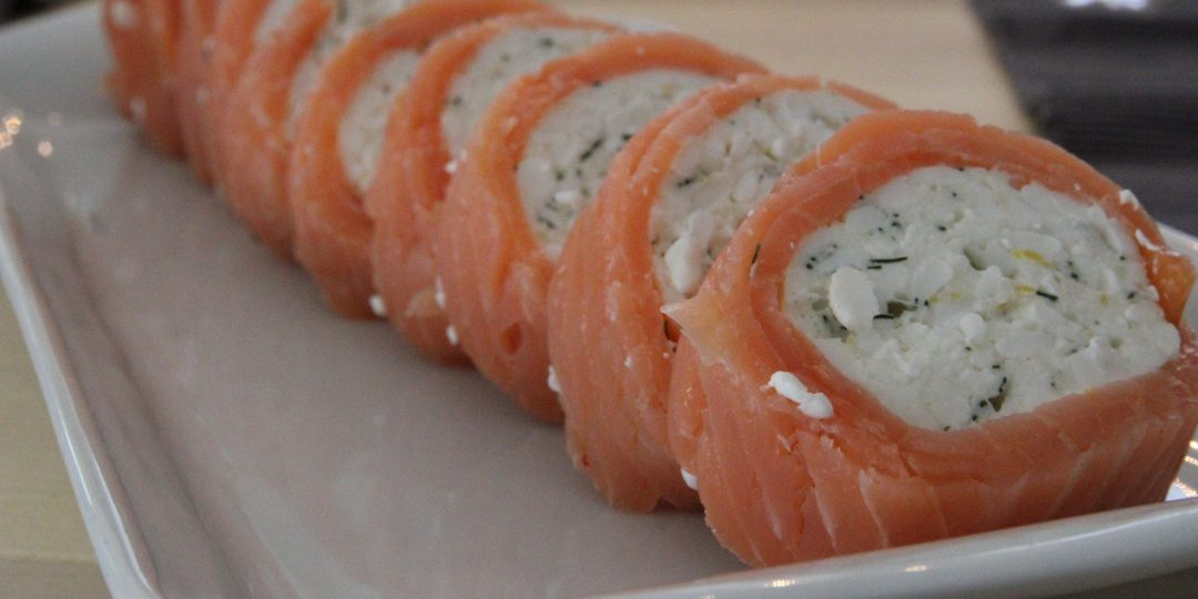 Salmon and cottage cheese roll