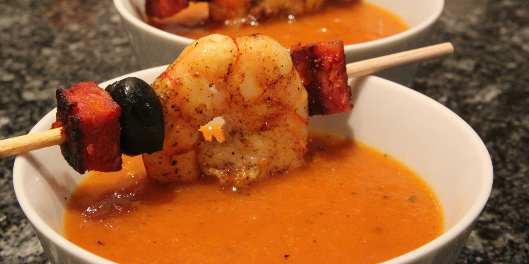 Roasted pepper cream soup with chorizo and shrimp