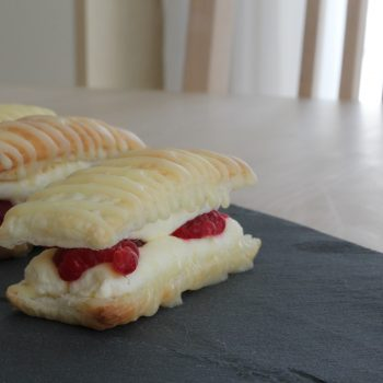 Millefeuilles with raspberries and lemon curd whipped cream