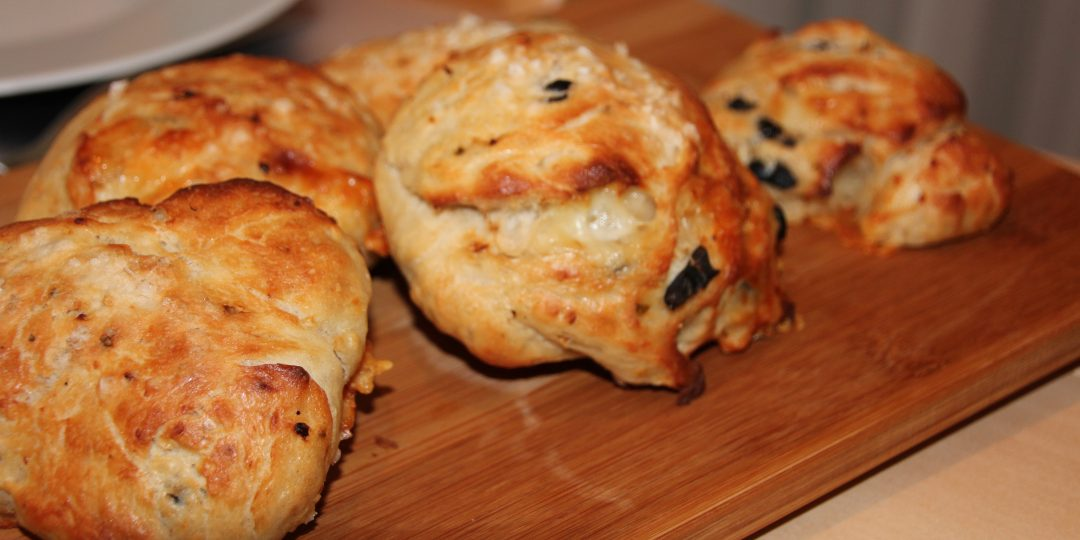 Chilli, provolone and olives minifocaccia