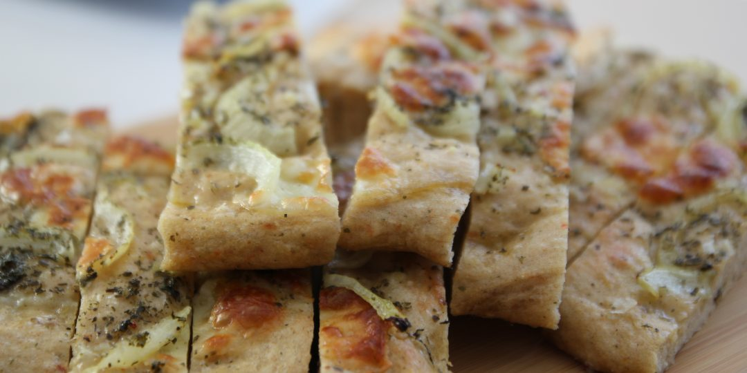 Chilli focaccia with onions and Asiago