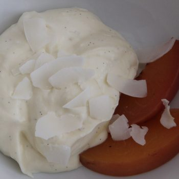 Coconut chantilly with poached peaches