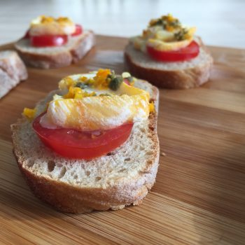 Grilled cheese crostini