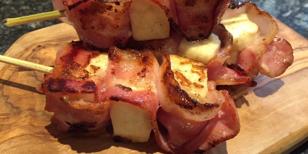 Halloumi and bacon kebaps
