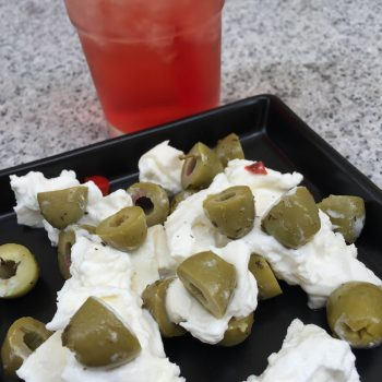 Spicy olives and burrata