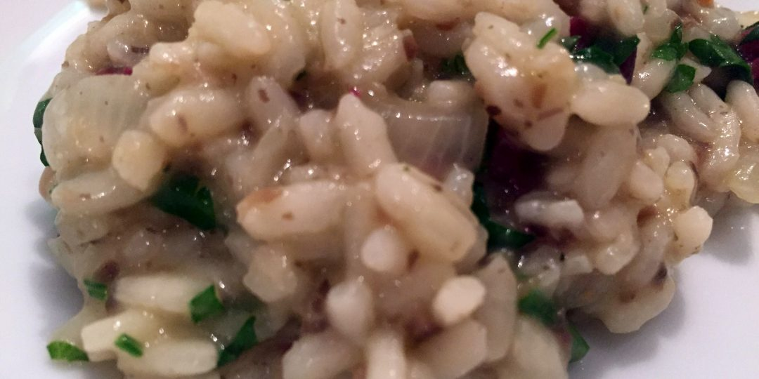 Mushroom risotto with deer dried meat