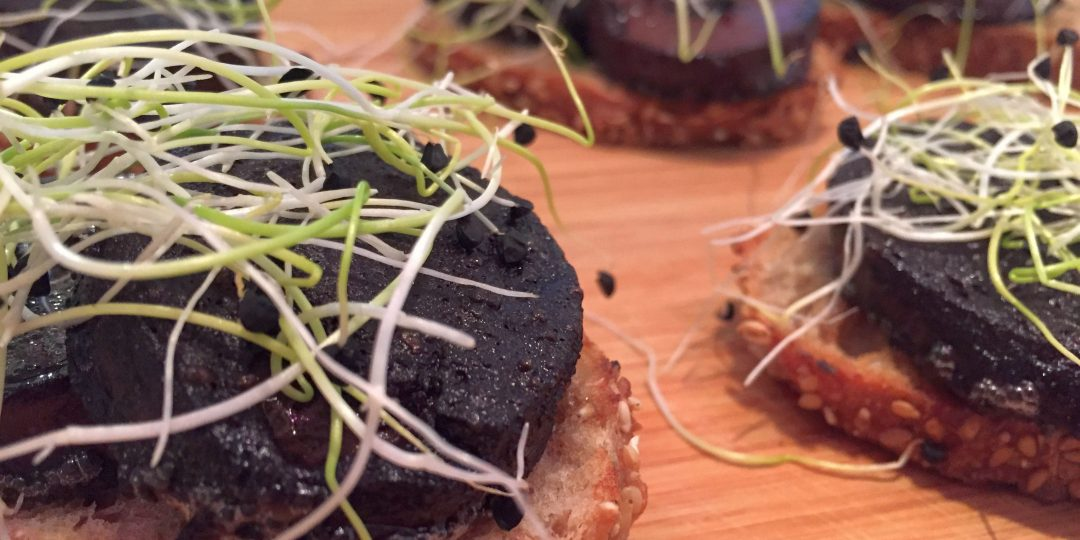 Blood sausage crostini