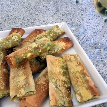 Feta and lemon pesto cigars