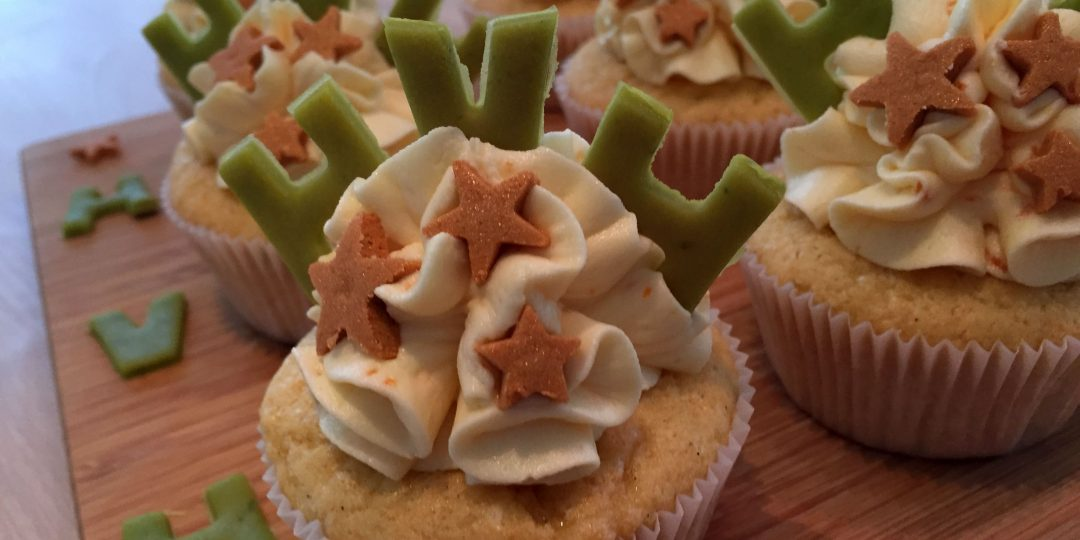 Passion fruit and white chocolate cupcakes with blood orange buttercream